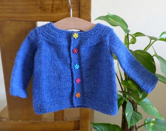 Digital Knitting Pattern Cardigan Sweater - Orla an everyday Seamless Top Down Yoked Cardigan (5 Sizes for 0 -5 yrs)