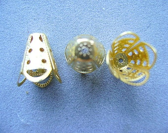BEAD CAPS, Gold, Large, Metal,Plated, filligre, 15x12mm, Focal, Tassel, Multi Strand, I