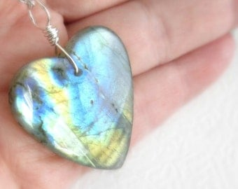 Large Labradorite Heart Pendant, Natural Semi Precious Stone Jewelry, Blue, Yellow & Amber