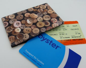 Oyster card holder, bus pass holder, travel card holder, wallet. Vintage button print wallet . Card wallet, Oyster card wallet, card holder