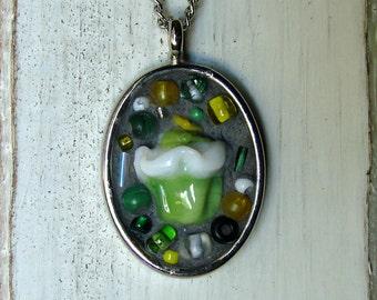 Mosaic Necklace - Wearable Art Jewelry - Cupcake Necklace - OOAK Art - Mosaic Artwork - Mosaic Jewelry - OOAK Jewelry - Cupcake Mosaic Art