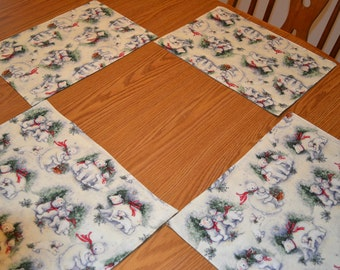 Polar Bear Christmas Placemats set of 4