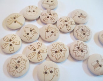 40 Etched Wooden Buttons Sewing Craft Supplies