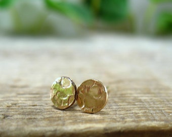 Stud Earrings Gold Hammered Dot - Stud Earrings, Post Earrings, Tragus Post, Helix Post, Cartilage Post, Inner Conch Post, Gold Post