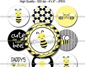 Cute Buzzing Bee Bottle Cap Images 1 Inch Circles Digital JPG - Instant Download - BC1062