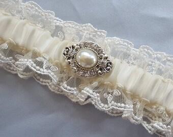 Ivory Lace Wedding Garter Vintage Pearl Rhinestone Accent Bridal Garter