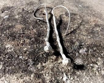 Branch Earrings-Sterling silver Drop earrings-Twig Long Earrings-Nature inspired dangling earrings-Gift for girlfriend