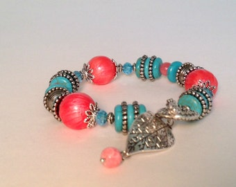 Coral and Turquoise Leaf Charm Bracelet Beaded Turquoise Bracelet Gemstone Bead Bracelet Summer Bracelet Boho Jewelry Pink Coral Bracelet