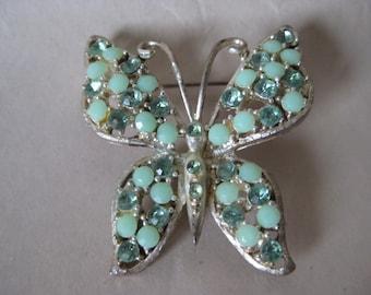 Butterfly Green Brooch Gold Rhinestone Vintage Pin