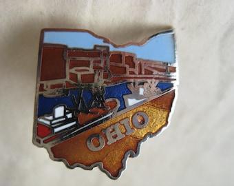Ohio Pin Lapel Tie Tack Brooch Enamel Brown Blue Silver Vintage