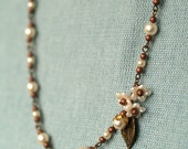 Lily chain necklace  - secret garden series pearls and antique vintage flower parts