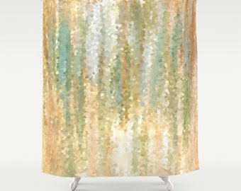 Shower Curtains, Digital Art Shower Curtain Bathroom Bath Design 30 Mosaic look green orange beige Home Decor L.Dumas
