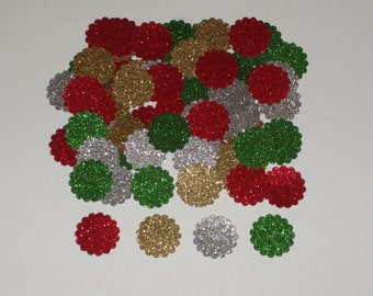 100 Glitter Gold, Silver, Red, and Green Holiday Mini Scalloped Circle Confetti