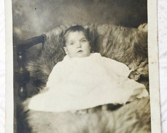 Antique Baby Photo Postcard Black and White Photograph Junk Journal Mixed Media Assemblage Craft Supplies Instant Relative Collectible