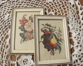Two Small Botanical Prints,  Pair Benoit Chirad Prints in White Picture Frames
