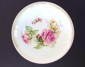Vintage Vegetable Bowl, Bavaria Lustre Ware Pink Roses Serving Bowl