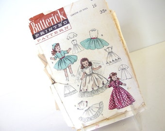 ORIGINAL Vintage 1940's 16 Inch Doll Sewing Pattern, Butterick 6759