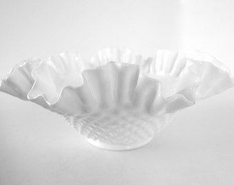 "10"" Vintage Fenton Hobnail Milk Glass Double Crimped Bowl;  Ruffled Footed Bowl"