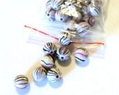 Destash Beads, Round Acrylic Pink Purple Striped, 12mm, 40 Beads,  Jewelry supplies, DIY