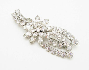 Floral Rhinestone Brooch Unusual Large Vintage Jewelry P6918