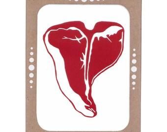 T-Bone Steak -- Recycled and Screenprinted Set of Six Cards