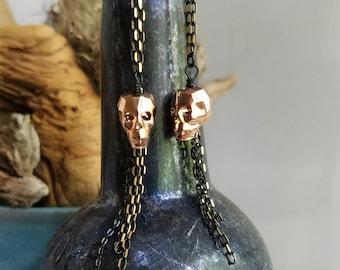 Crystal Skull Earrings, Rose Gold Metallic, Black Chain, Swarovski Crystal Skulls, Halloween, Autumn, Fall, October
