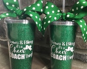Bows & Bling It's A Cheer Coach Thing // Glitter 16 oz Tumbler Cup