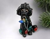 Poodle Black Christmas Ornament Figurine Lights Porcelain