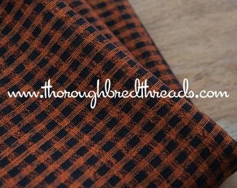 Halloween Plaid- Vintage Fabric Juvenile Plaid Gingham Orange Black Rayon