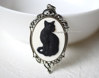 Black Cat Gothic Necklace - Halloween Kitty Cameo -2 Setting Colors - Insurance Included