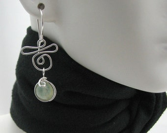 Pale Green Prehnite Silver Wire Wrapped Dangle Earrings Handmade by Pixes Treasure Chest