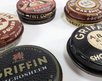 Vintage Set of 5 Shoe Shine Tin cans griffin kiwi