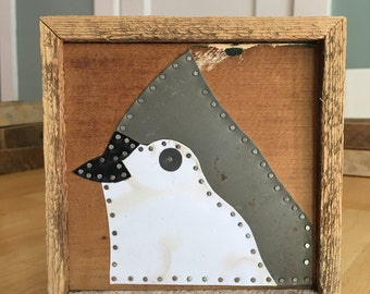 Tufted Titmouse in Vintage Tin on Reclaimed Wood