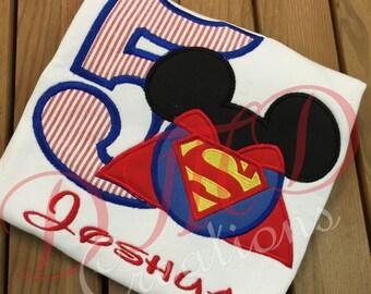 Superman Mouse head  Applique Shirt
