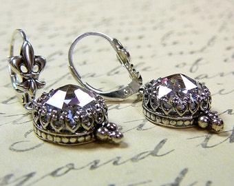 Vintage Inspired Sterling silver CZ Lever Back Earrings with Fluer De Lis and Tiara Bezel