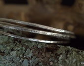 Silver bangle thin Hammered textured handmade recycled silver Eco friendly handmade artisan silver