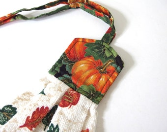 Pumpkin Hanging Towel, Quilted with Ties Autumn Hand Towel