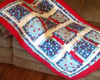Handcrafted Little Quilt Red White Blue