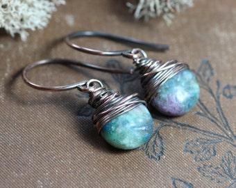 Kyanite Earrings Copper Wire Wrapped Gemstone Pink Green Earrings Rustic Jewelry