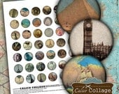 Digital Collage Sheet World Travel Printable for Glass Dome Pendants, Bottle Caps, Cabochon, Bezel Settings, Magnets, Decoupage Paper