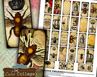 Queen Bee, Bee Collage Sheet, Domino Collage Sheet, 1x2 Domino Images, Domino Pendant, Images for Pendants, Images for Bezels