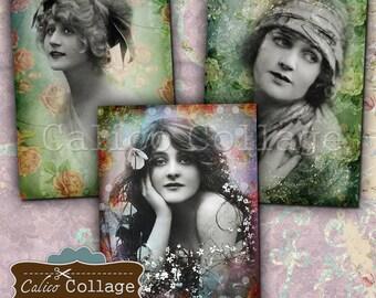 Flower Ladies, Digital Collage, Printable, Junk Journal Tags, Digital, Journal Spots, Printable Ephemera, Instant Download, Printable