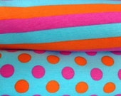 1/2 yard of each 3 color dots 3 color stripes