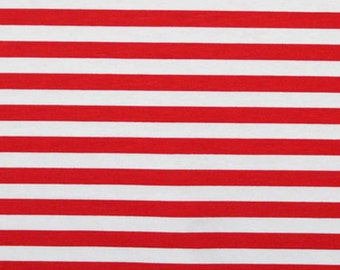 """Knit red white stripes 1/2"""" 1 yard cotton lycra made in USA"""