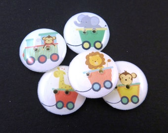 "5 Zoo Animal Train Buttons.  Handmade Buttons.  Sewing Buttons. 3/4"" or 20 mm. Monkey, Giraffe, Lion and Elephant."