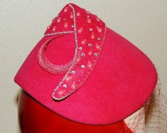 1930s to 40s Embellished Flamingo Pink Hat with Veil
