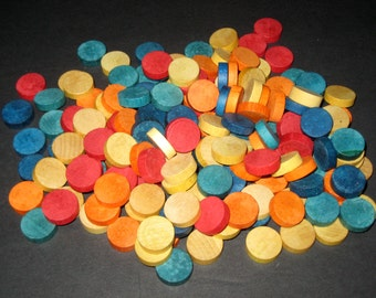 160+  Vintage Colored Wooden Bingo or Keno Markers for  Altered Art, Crafts, Collage, Assemblage, etc.