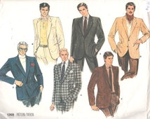 Vogue 1269 1980s MENS Single Double Breasted JACKET Pattern Adult Vintage Sewing Pattern Chest 40 OR Chest 42
