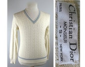 Vintage 70s Mens Dior Silk Knit Pullover Sweater S Christian Dior Monsieur