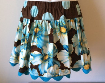 Little girl's twirly skirt -  bold blue flowers and dots on brown : CLOSEOUT